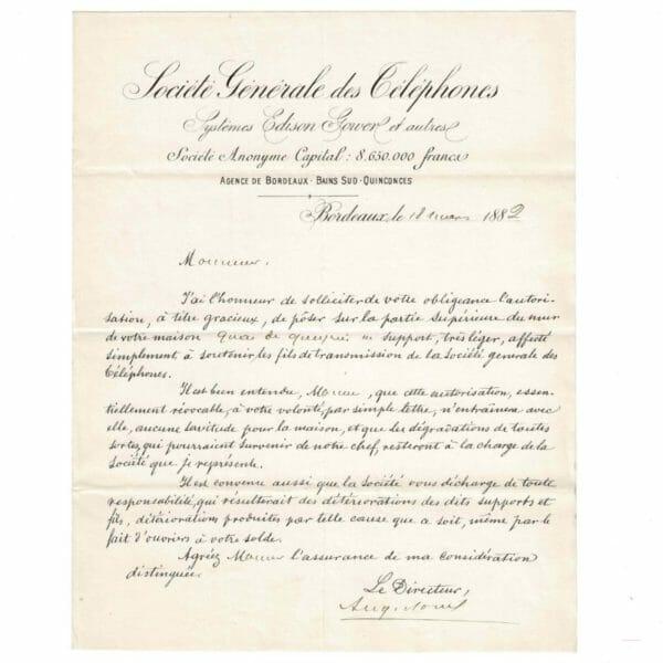 Lettre de mars 1882 pour installer le réseau téléphonique sur la rive droite de Bordeaux.