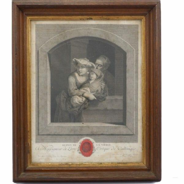 Repos de la Vierge Gravure de Johan Georg Wille (1715-1808) datée de 1776
