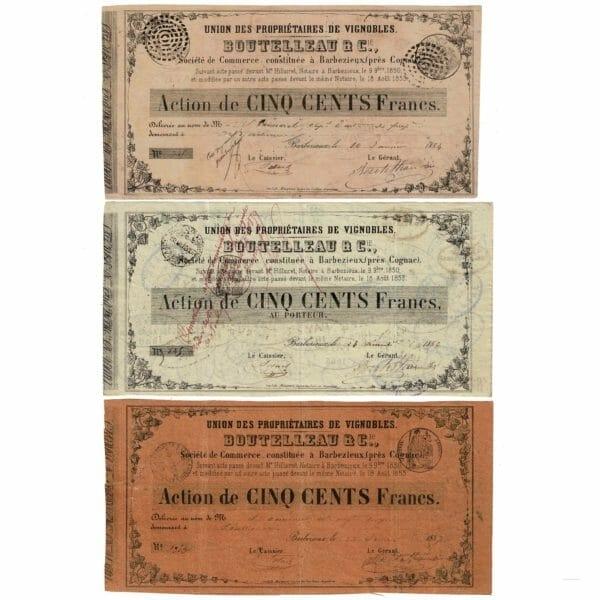 Actions 500 francs BOUTELLEAU-Cie-BARBEZIEUX-COGNAC