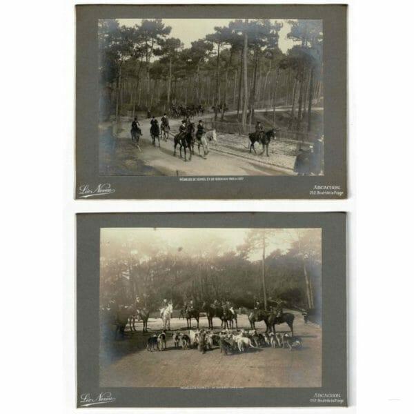 Photographies de Léo Neveu d'une chasse à courre vers 1912