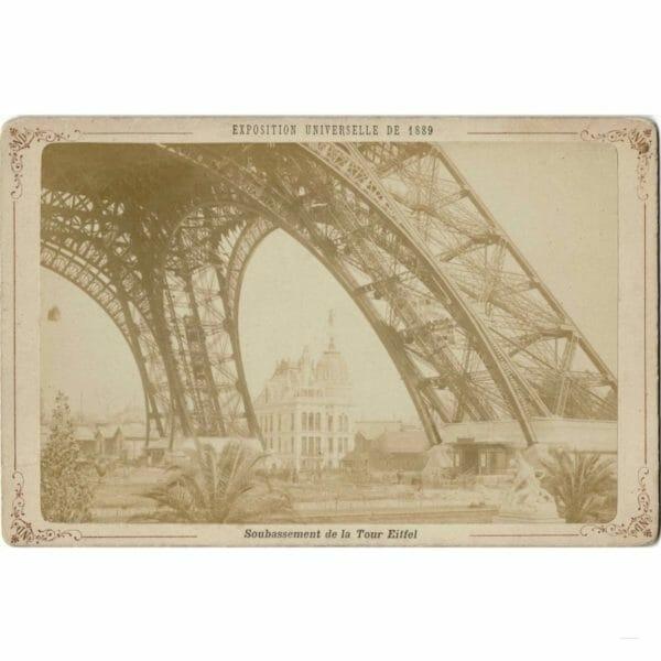 Photographie des frères NEURDEIN du soubassement de la Tour Eiffel Exposition Universelle de 1889
