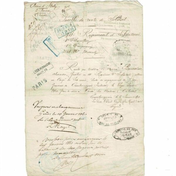 Feuille de route fusilier Armée d'Italie janvier 1860