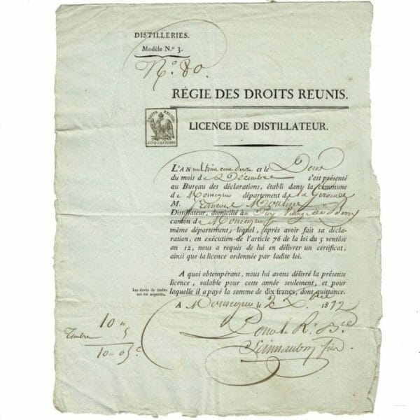 Licence Distillateur Monségur 1812
