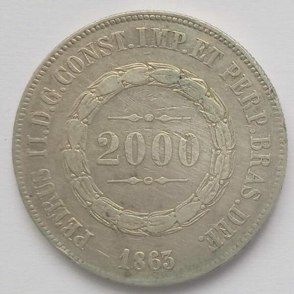 Monnaie Brésil 2000 Reis 1863 KM#466