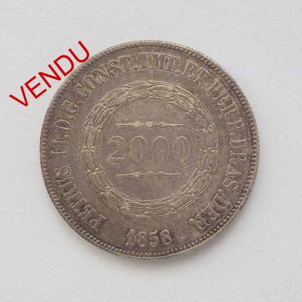 Brésil 2000 Reis 1858