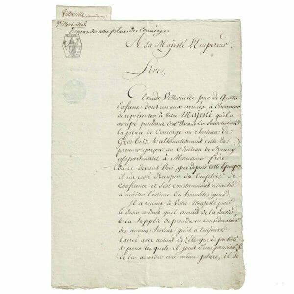 Lettre à l'empereur Napoléon Ier
