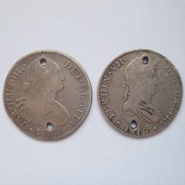 monnaie colonie espagnole trou