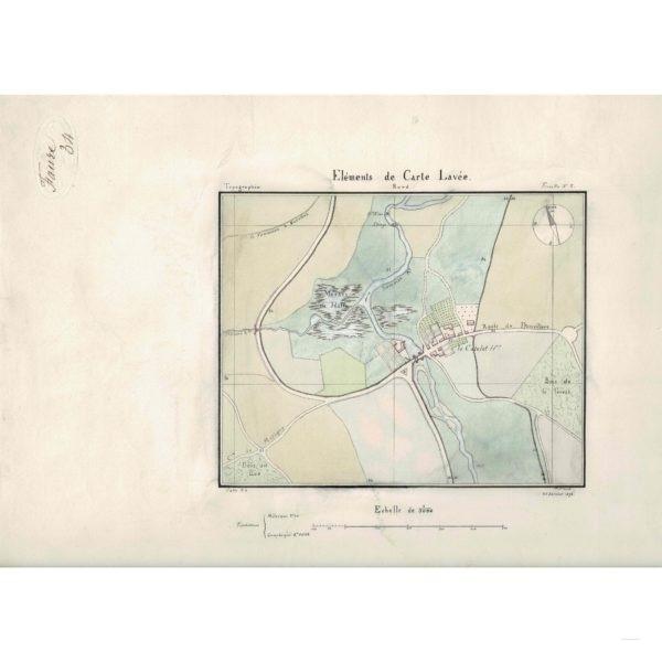 «Eléments de Carte Lavée» -Le Catelet (Aisne) 1872