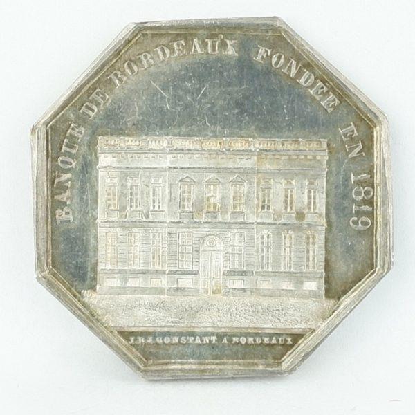 Jeton en argent Banque de BORDEAUX (1842-1845)
