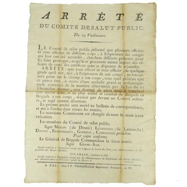 Arrêté Comité Salut Public 1795