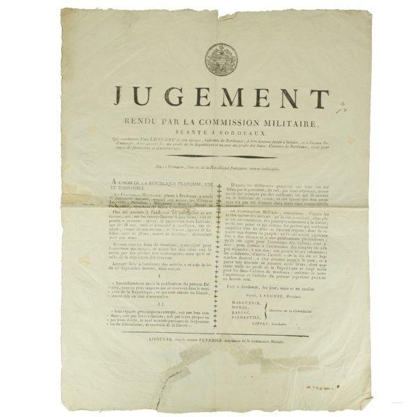 Placard jugement 1793