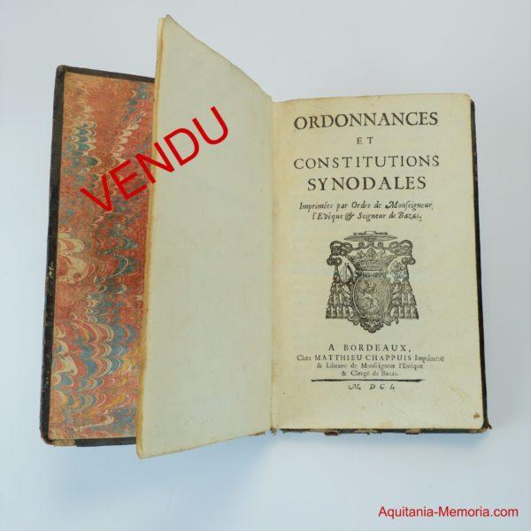 Ordonnances synodales évêque Bazas