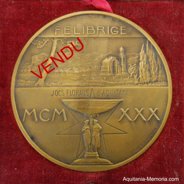 Jeux floraux d'Aquitaine Médaille Frédéric MISTRAL