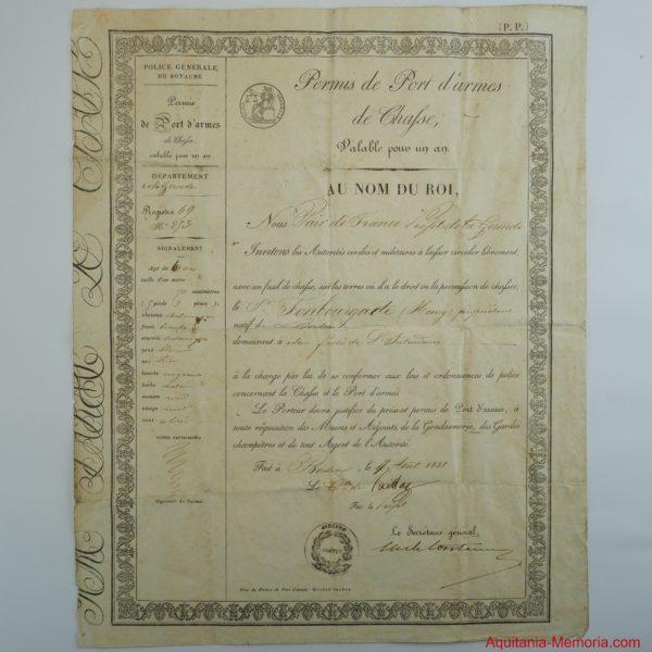 Permis de chasse bordeaux 1838